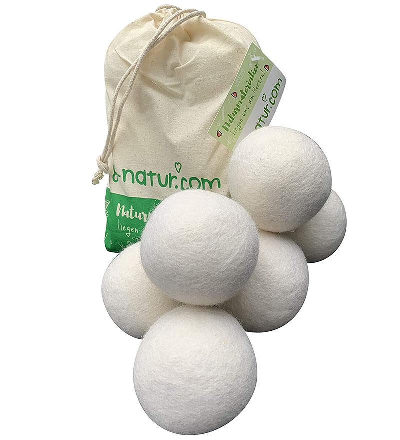 Test 8-natur Lot de 6 Boules de séchage XXL 100% en Laine mérinos